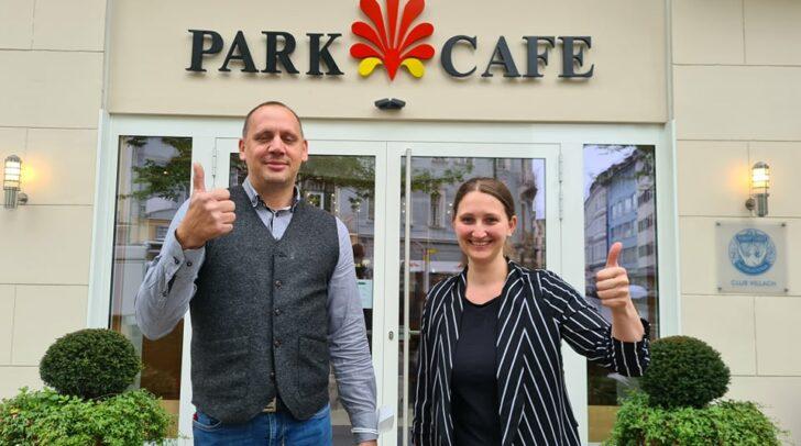 Jürgen Blumenthal und Isabella Bartelmä haben heute ihr neues Parkcafe in Villach eröffnet.
