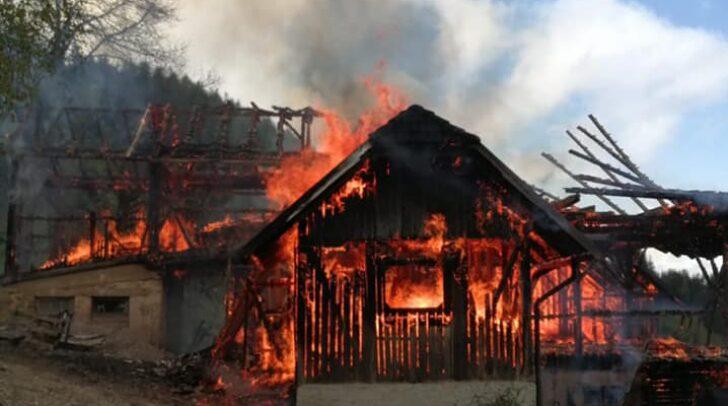 Das Wirtschaftsgebäude ist bei dem gestrigen Feuer bis auf die Grundmauern niedergebrannt.
