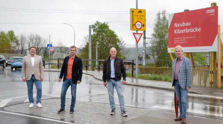 v.l.: Bürgermeister Günther Albel, ÖBB-Regionalleiter Franz Jank, Projektleiter Karl Zolle und Stadtrat Harald Sobe