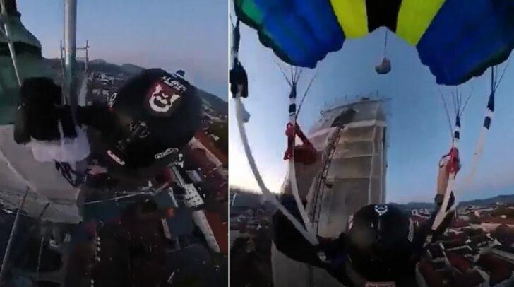 Zuerst kletterte er nach oben, dann sprang er samt Fallschirm vom Stadtpfarrturm.