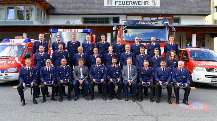 Kommandanten und Stellvertreter der Freiwilligen Feuerwehren in der Stadtgemeinde Hermagor-Pressegger See.