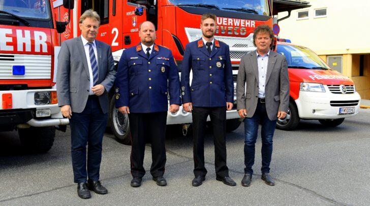 Bgm. DI Leopold Astner, GFK Bernhard Tscheließnig, GFK-Stv. Florian Zimmermann und Vizebgm. Günter Pernul.