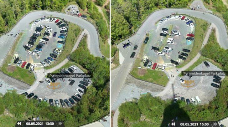 Webcam-Vergleich: Die Maßnahmen scheinen zu wirken. Der Parkplatz ist um 15 Uhr deutlich leerer, als noch um 13.30 Uhr.