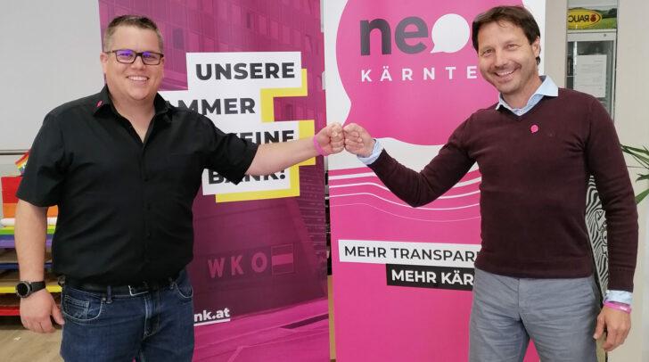 Der neue UNOS-Landessprecher Christoph Wriessnegger (li.) freut sich auf eine gute Zusammenarbeit mit NEOS-Landessprecher Markus Unterdorfer-Morgenstern.
