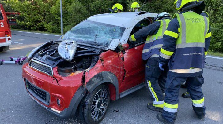 Kurz vor 8 Uhr kam es im Kreuzungsbereich der Bruno- Kreisky Straße in Richtung Maria Gailer Straße zu einem Verkehrsunfall mit Fahrzeugüberschlag.