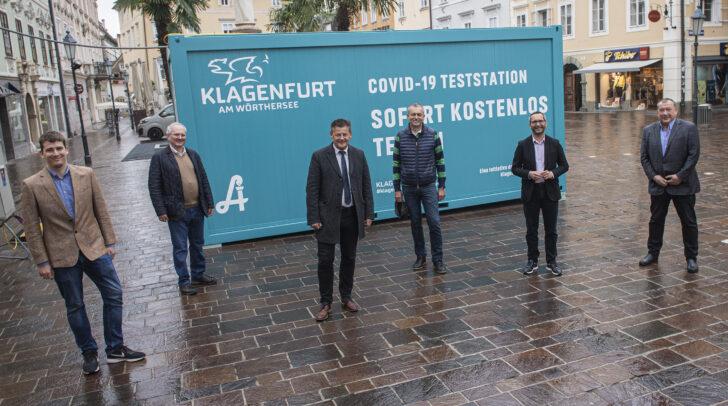v.l.n.r.: Martin Auer, Dr. Herbert Auer, Bürgermeister Christian Scheider,<br /></noscript>Wirtschaftsreferent Stadtrat Max Habenicht, Gesundheitsreferent Stadtrat Mag.<br />Franz Petritz, Dr. Walter Auer