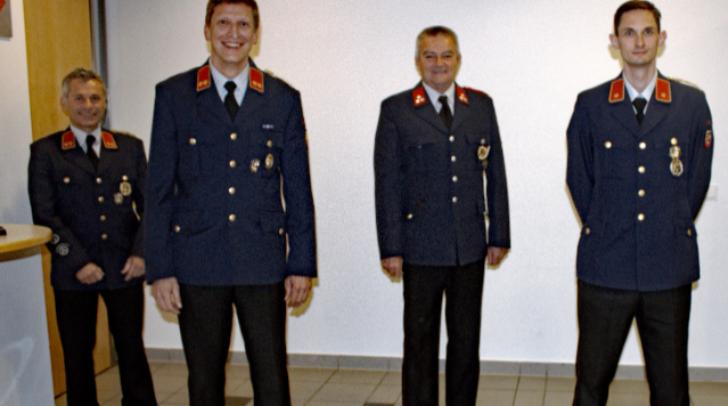 v.l.n.r.: Vzbgm.OBI Ing. Christian Katholnig, OBI Helmut Jonach, Bgm. HFM Harald Haberle und BI Alexander Weinhofer