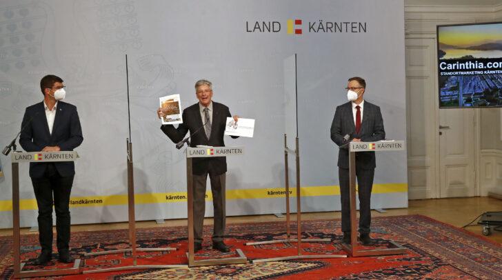 LH Peter Kaiser präsentiert mit LR Martin Gruber und Markus Bliem die Kampagne.