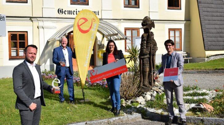 Amtsleiter Gregor Horn, Bürgermeister Gerhard Oleschko, LR.in Sara Schaar, e5-Betreuer Christoph Zettinig
