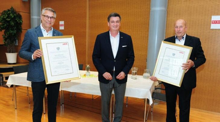 WK-Präsident verlieh gestern den zwei Unternehmern, Rudolf Bredschneider und Karl Rudolf Kollitsch die Dekrete zur Führung des Berufstitels